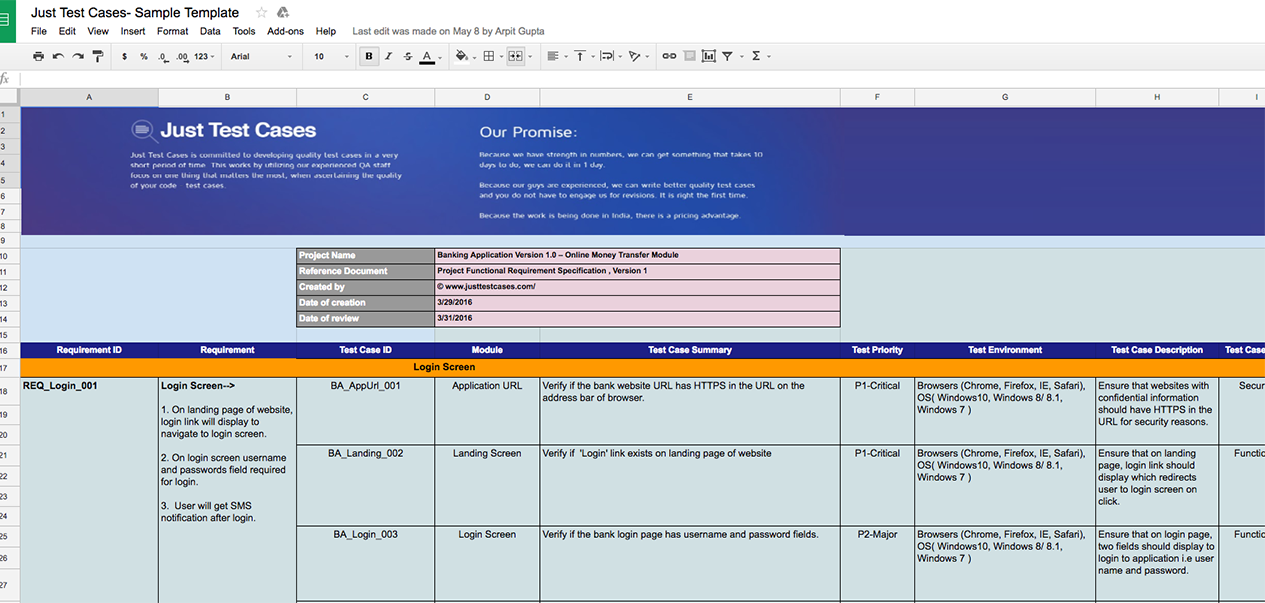 Sample test case template document excel youtube.